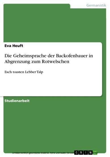 Die Geheimsprache der Backofenbauer in Abgrenzung zum Rotwelschen - Blick ins Buch