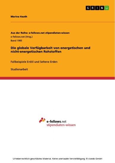 Die globale Verfügbarkeit von energetischen und nicht-energetischen Rohstoffen - Blick ins Buch
