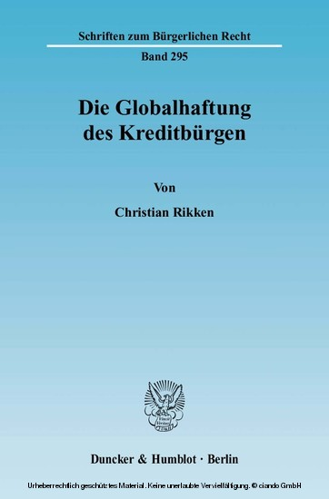 Die Globalhaftung des Kreditbürgen. - Blick ins Buch