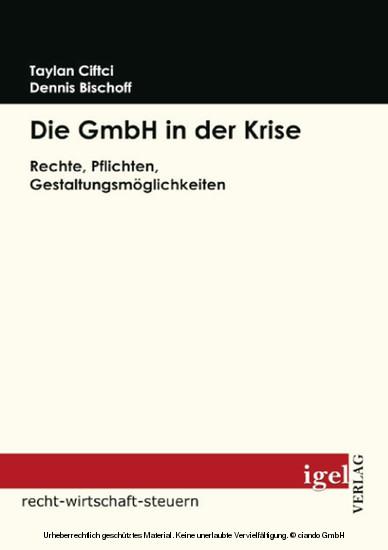 Die GmbH in der Krise - Blick ins Buch