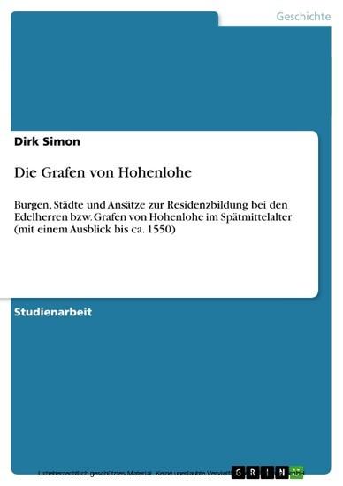 Die Grafen von Hohenlohe - Blick ins Buch