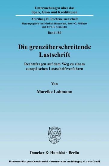 Die grenzüberschreitende Lastschrift. - Blick ins Buch