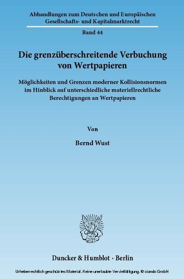 Die grenzüberschreitende Verbuchung von Wertpapieren. - Blick ins Buch