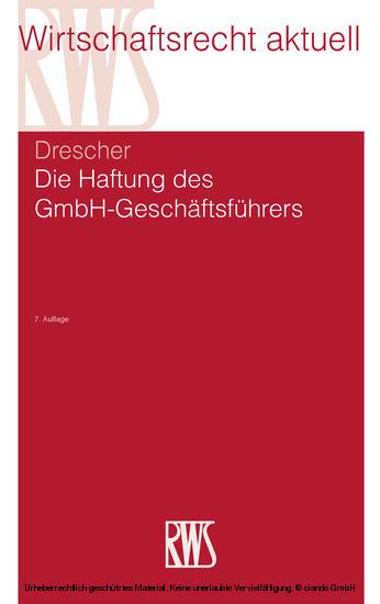 Die Haftung des GmbH-Geschäftsführers - Blick ins Buch