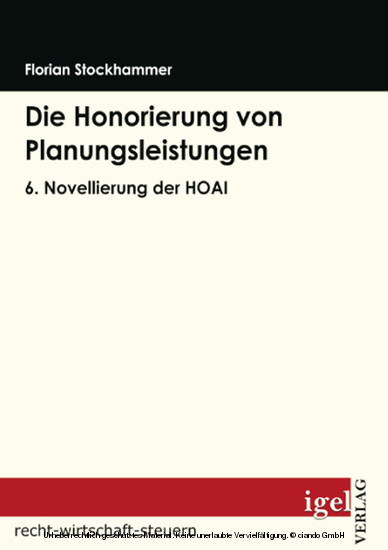 Die Honorierung von Planungsleistungen - Blick ins Buch