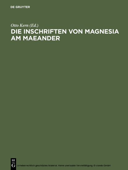 Die Inschriften von Magnesia am Maeander - Blick ins Buch