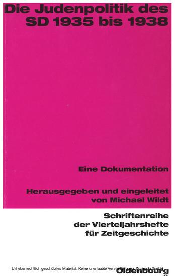 Die Judenpolitik des SD 1935 bis 1938 - Blick ins Buch