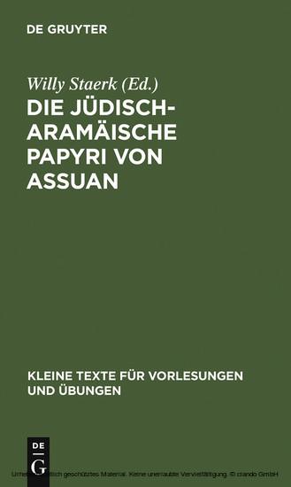 Die jüdisch-aramäische Papyri von Assuan - Blick ins Buch