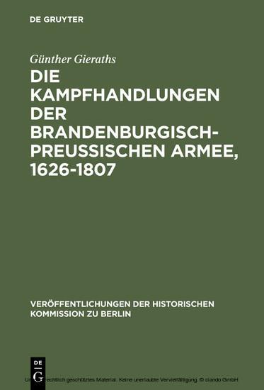 Die Kampfhandlungen der Brandenburgisch-Preussischen Armee, 1626-1807 - Blick ins Buch