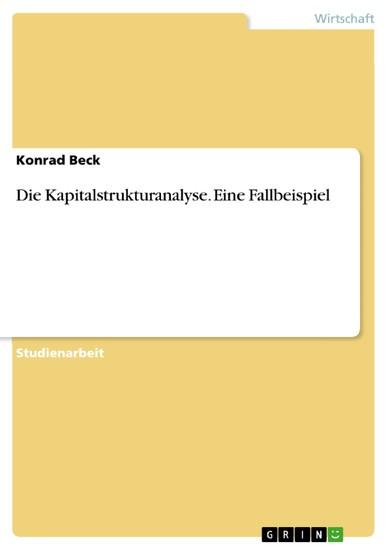 Die Kapitalstrukturanalyse. Eine Fallbeispiel - Blick ins Buch