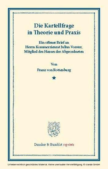 Die Kartellfrage in Theorie und Praxis. - Blick ins Buch