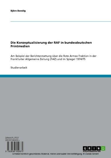 Die Konzeptualisierung der RAF in bundesdeutschen Printmedien - Blick ins Buch
