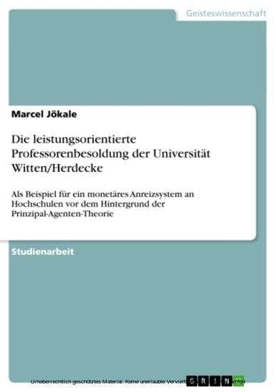 Die leistungsorientierte Professorenbesoldung der Universität Witten/Herdecke - Blick ins Buch