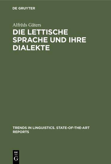 Die lettische Sprache und ihre Dialekte - Blick ins Buch