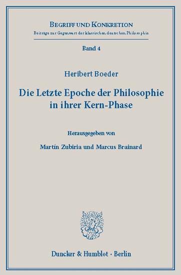 Die Letzte Epoche der Philosophie in ihrer Kern-Phase. - Blick ins Buch
