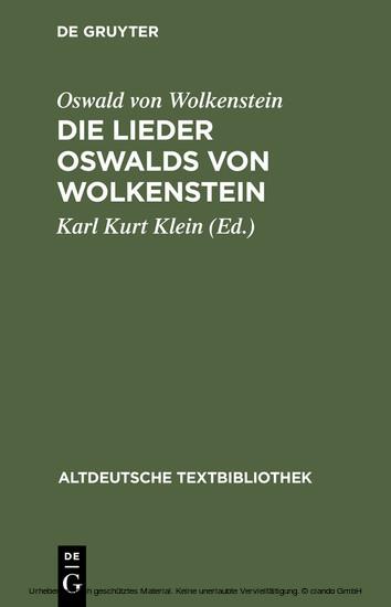Die Lieder Oswalds von Wolkenstein - Blick ins Buch