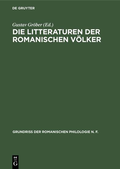 Die Litteraturen der romanischen Völker - Blick ins Buch