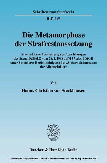 Die Metamorphose der Strafrestaussetzung. - Blick ins Buch