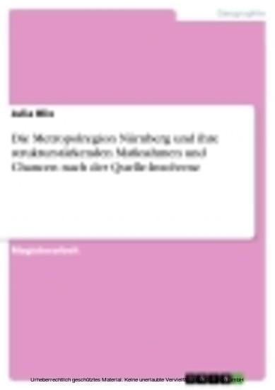 Die Metropolregion Nürnberg und ihre strukturstärkenden Maßnahmen und Chancen nach der Quelle-Insolvenz - Blick ins Buch