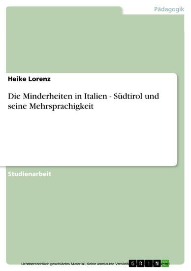 Die Minderheiten in Italien - Südtirol und seine Mehrsprachigkeit - Blick ins Buch