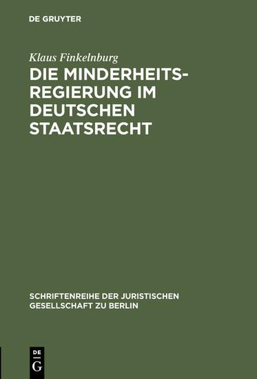 Die Minderheitsregierung im deutschen Staatsrecht - Blick ins Buch