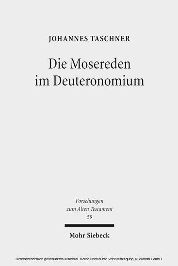 Die Mosereden im Deuteronomium - Blick ins Buch