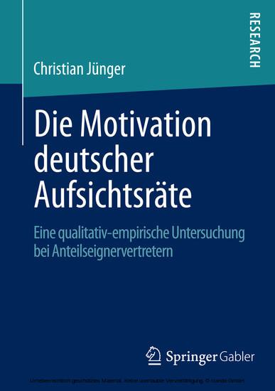 Die Motivation deutscher Aufsichtsräte - Blick ins Buch