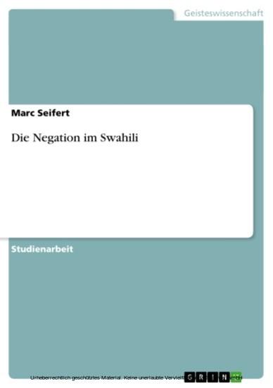 Die Negation im Swahili - Blick ins Buch