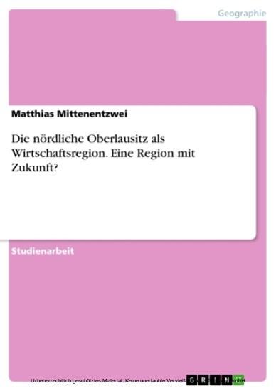 Die nördliche Oberlausitz als Wirtschaftsregion. Eine Region mit Zukunft? - Blick ins Buch