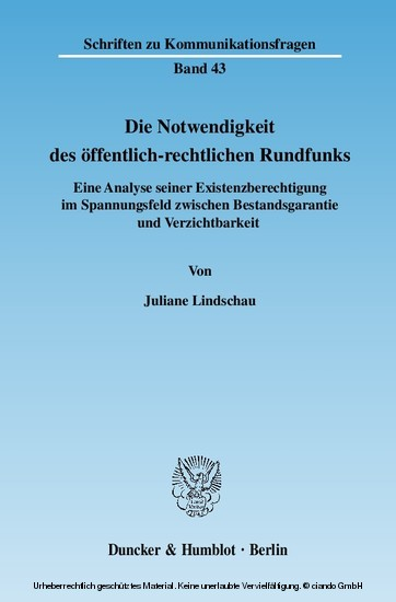 Die Notwendigkeit des öffentlich-rechtlichen Rundfunks. - Blick ins Buch