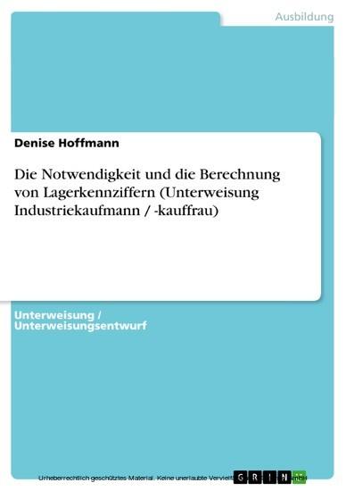 Die Notwendigkeit und die Berechnung von Lagerkennziffern (Unterweisung Industriekaufmann / -kauffrau) - Blick ins Buch