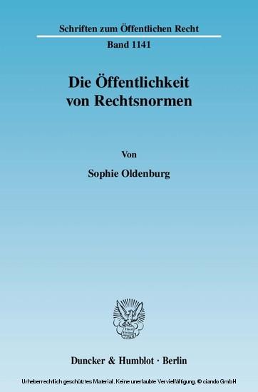 Die Öffentlichkeit von Rechtsnormen. - Blick ins Buch