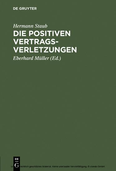 Die positiven Vertragsverletzungen - Blick ins Buch