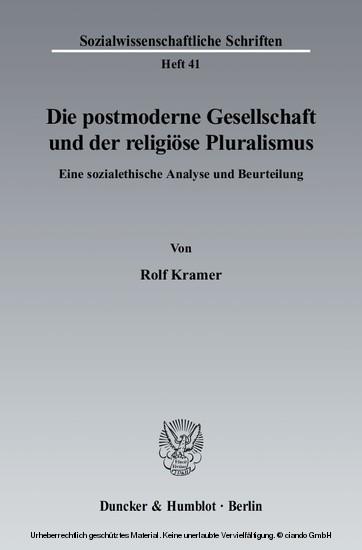 Die postmoderne Gesellschaft und der religiöse Pluralismus. - Blick ins Buch