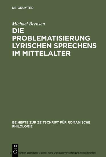 Die Problematisierung lyrischen Sprechens im Mittelalter - Blick ins Buch