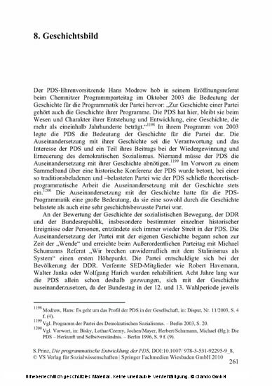 Die programmatische Entwicklung der PDS - Blick ins Buch