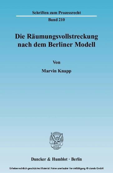 Die Räumungsvollstreckung nach dem Berliner Modell. - Blick ins Buch
