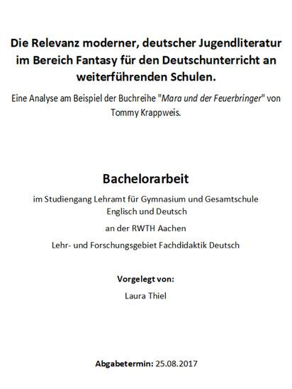 Die Relevanz moderner, deutscher Jugendliteratur im Bereich Fantasy für den Deutschunterricht an weiterführenden Schulen - Blick ins Buch