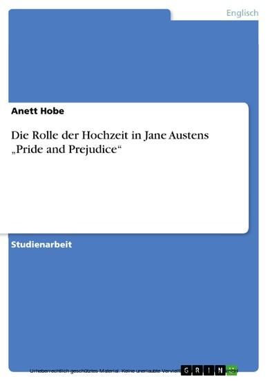 Die Rolle der Hochzeit in Jane Austens 'Pride and Prejudice' - Blick ins Buch