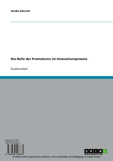 Die Rolle der Promotoren im Innovationsprozess - Blick ins Buch
