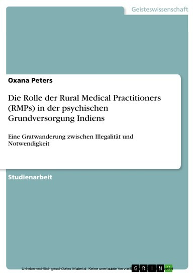 Die Rolle der Rural Medical Practitioners (RMPs) in der psychischen Grundversorgung Indiens - Blick ins Buch