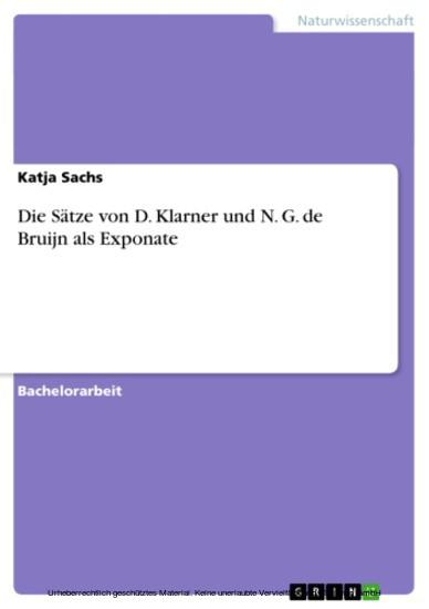 Die Sätze von D. Klarner und N. G. de Bruijn als Exponate - Blick ins Buch