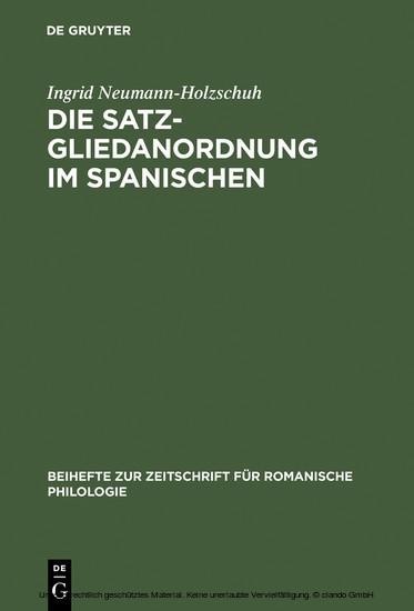 Die Satzgliedanordnung im Spanischen - Blick ins Buch
