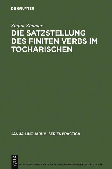 Die Satzstellung des finiten Verbs im Tocharischen - Blick ins Buch