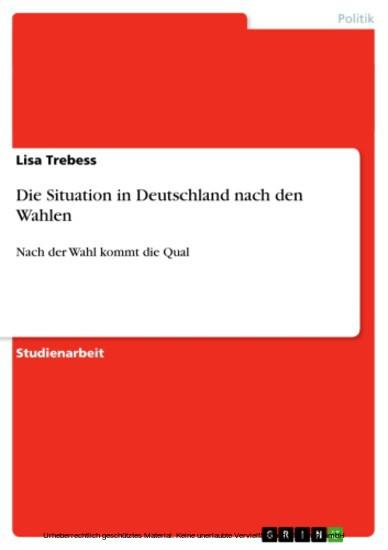 Die Situation in Deutschland nach den Wahlen - Blick ins Buch
