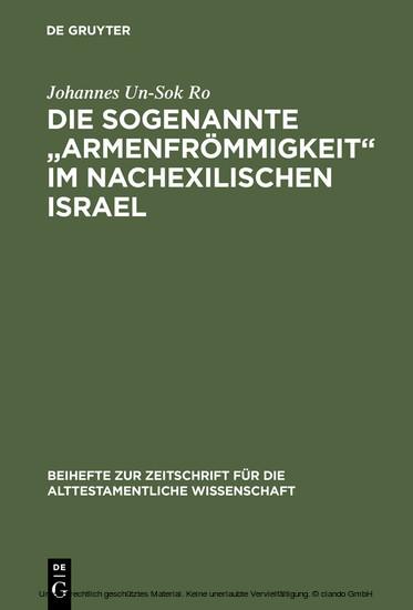 Die sogenannte 'Armenfrömmigkeit' im nachexilischen Israel - Blick ins Buch
