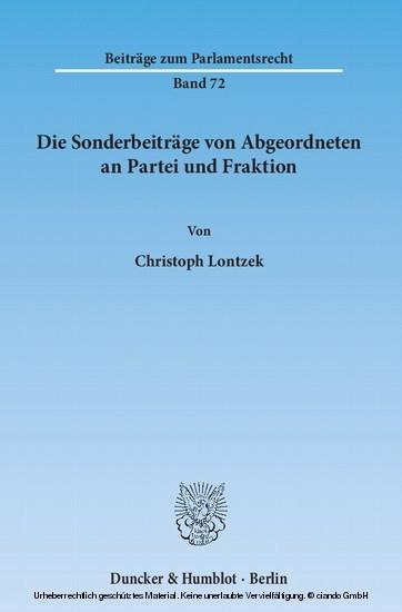 Die Sonderbeiträge von Abgeordneten an Partei und Fraktion. - Blick ins Buch