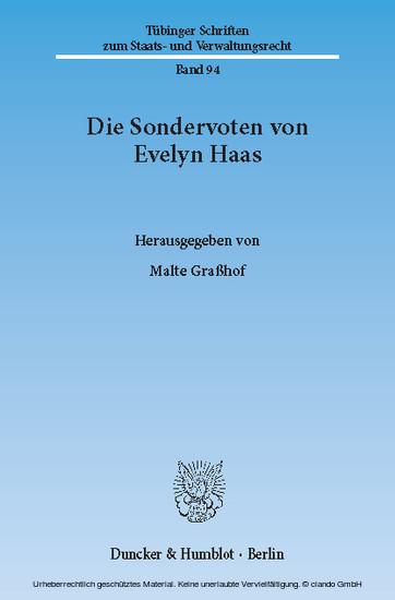 Die Sondervoten von Evelyn Haas. - Blick ins Buch