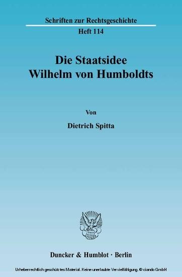 Die Staatsidee Wilhelm von Humboldts. - Blick ins Buch