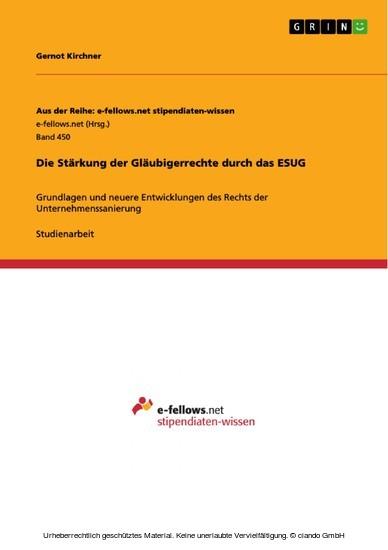 Die Stärkung der Gläubigerrechte durch das ESUG - Blick ins Buch